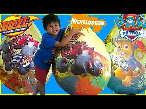 NICKELODEON TOYS GOLDEN GIANT EGG SURPRISE OPENING 2016 COMPILATION Toy Cars Kids Video