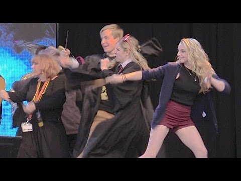 Luna Lovegood (Evanna Lynch) wand combat duel at Harry Potter Celebration 2015, Universal Orlando