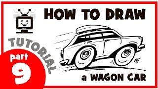 How to draw a wagon car. Part 9. Мастер класс. Как нарисовать машину универсал. Часть 9.