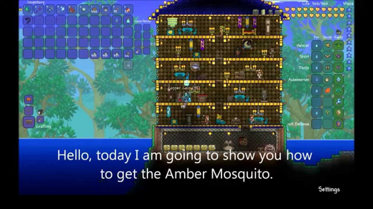 Terraria Tutorial: How To Get The Baby Dino Pet (amber Mosquito)