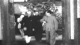 Indian Prime Minister Jawaharlal Nehru and Chinese leaders Mao Tse-tung and Chou ...HD Stock Footage