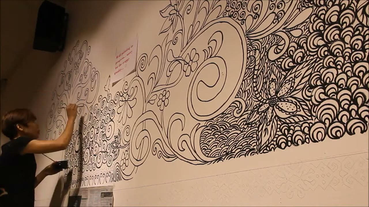Wall paint doodle art! - YouTube