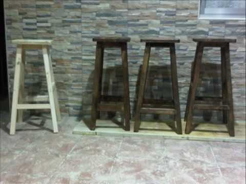 Taburetes hechos con pales youtube for Bar con madera reciclada