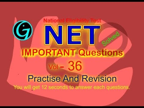 NET Questions |Vol-36|CBSE|UGC |National Eligibility Test |Sample |Paper