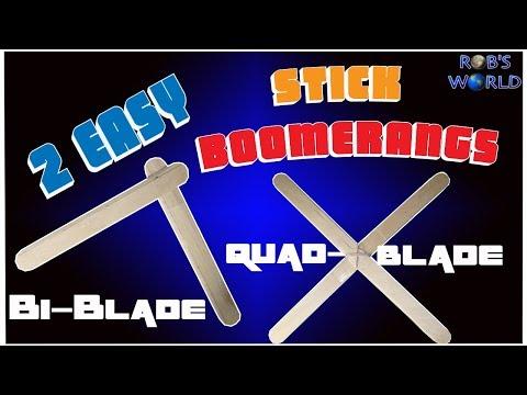 How to Make 2 Easy DIY Stick Boomerangs! (Bi & Quad-Blade)
