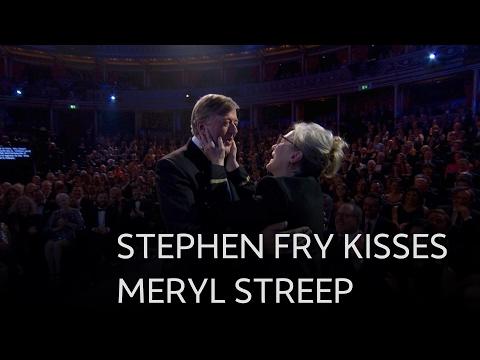 Stephen Fry kisses Meryl Streep - The British Academy Film Awards 2017 - BBC One