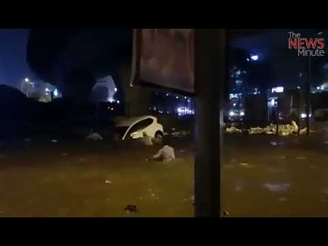 Watch: Terrifying video shows Bengaluru woman trapped inside car on a flooded road