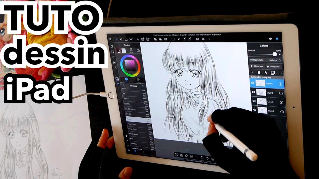 dessin tablette comment je dessine sur ipad pro tuto manga 2 youtube. Black Bedroom Furniture Sets. Home Design Ideas