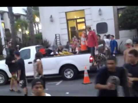 Huntington Beach Riot 2013 - Attempt To Turn Over City Vehicle