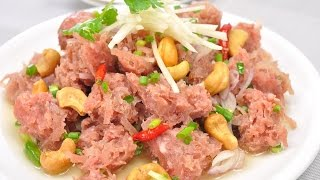 Spicy Thai Sour Sausage Salad (Thai Food) – Yum Naem ยำแหนม