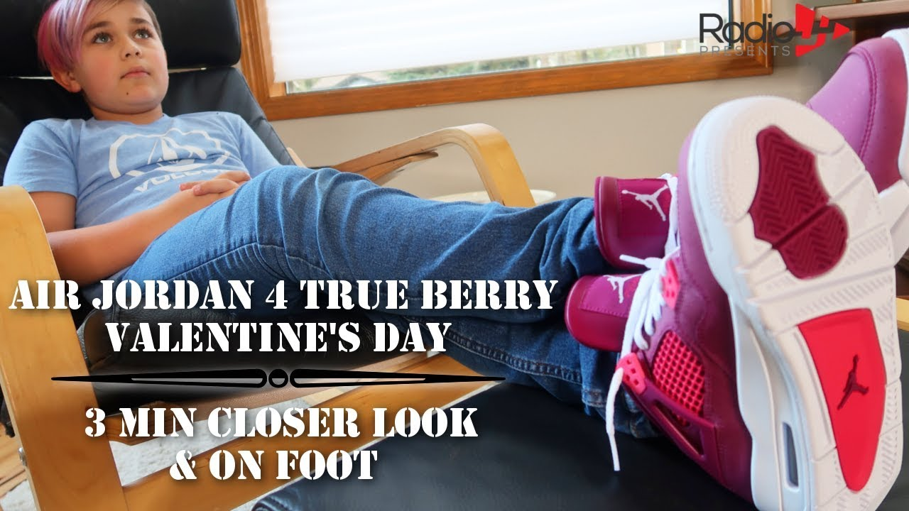 2ca81731113 AIR JORDAN 4 True Berry Valentine's Day | 3 Min Closer Look & On Foot