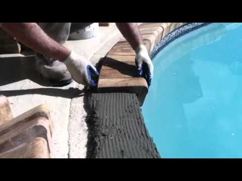 Installing brick coping on a swimming pool youtube for Painting aluminum swimming pool coping