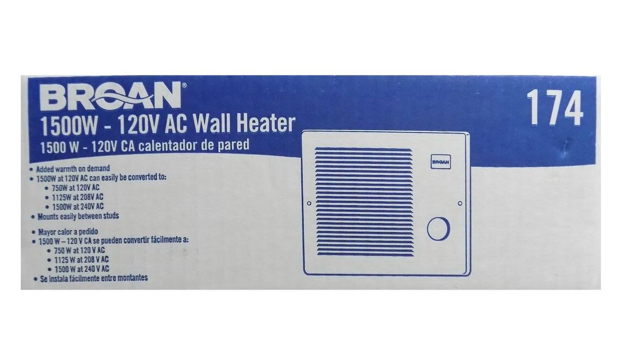 Broan Wall Heater Installation Youtube Wiring 240