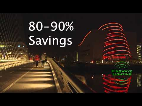 Pingwave Lighting - Spencer Dock, IFSC, Dublin. Advanced LED Lighting Video