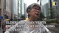Elderly woman vents frustration at Hong Kong protesters