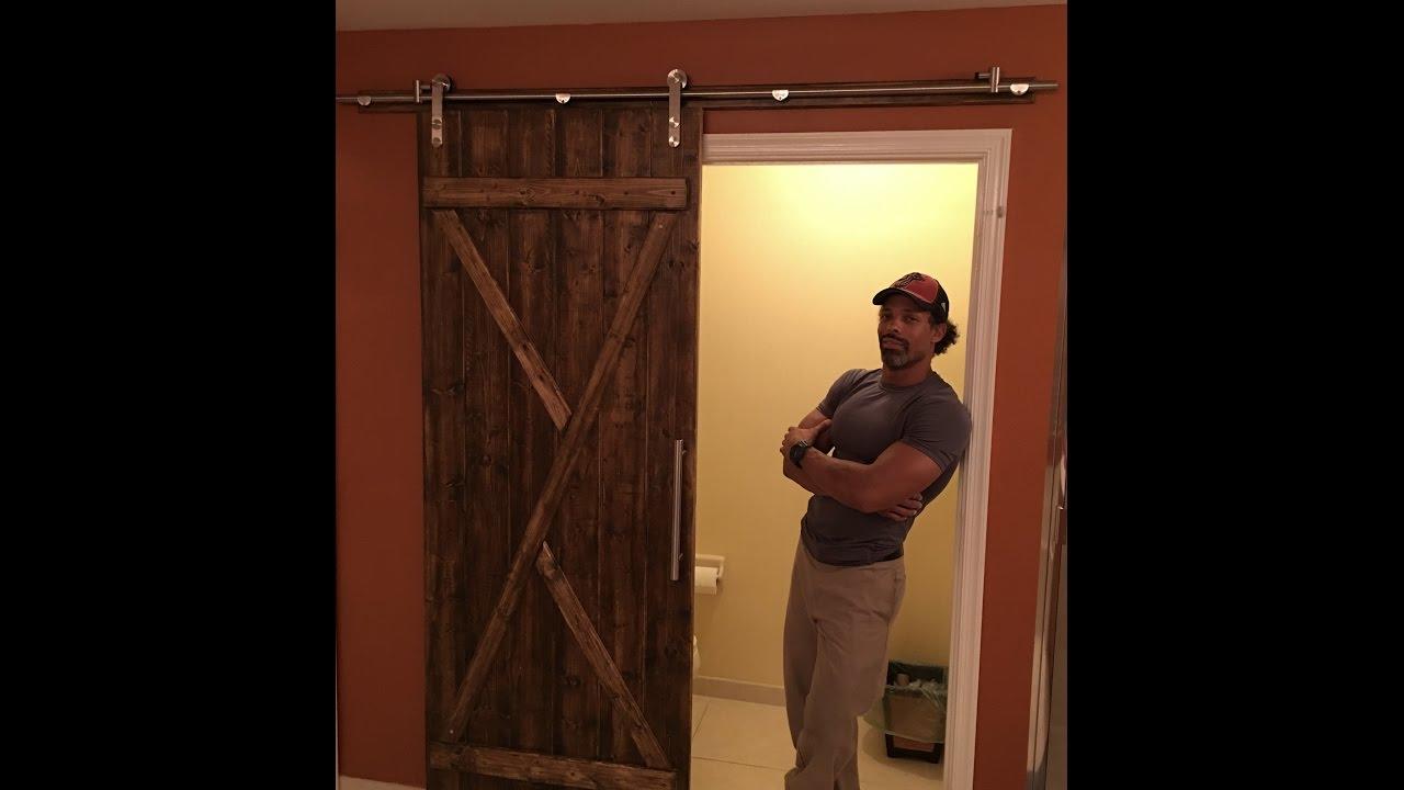 How To Install A Rolling Barn Door Diy Barn Door Hardware Youtube