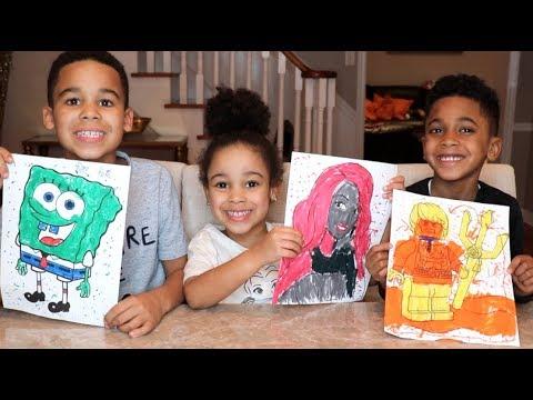 3 MARKER CHALLENGE with Spongebob, Barbie, Aquaman | FamousTubeKIDS