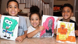 3 MARKER CHALLENGE with Spongebob, Barbie, Aquaman | FamousTubeKIDS