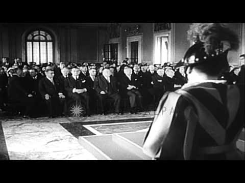 Pope Pius XII greets and converses with delegates of the European Coal and Steel...HD Stock Footage