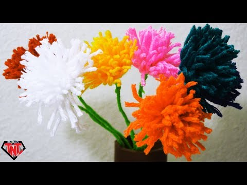 DIY Yarn Craft Woolen Flower Stick || How To Make Tassel flowers