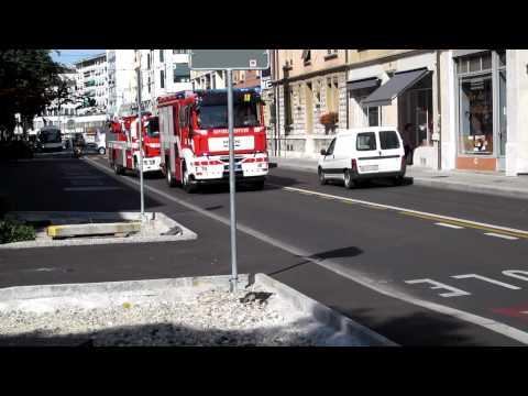 """Pompier Genève Fourgon 34 type """"campagne"""", Autopompe 18, Echelle 24"""