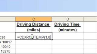 Driving Distance Calculator in Excel