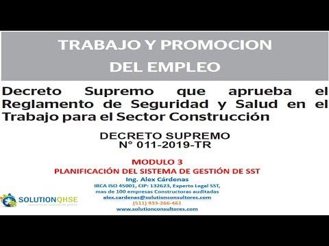 DS N° 011 2019 TR-Modulo 3 REGLAMENTO SST PARA EL SECTOR CONTRUCCIÓN