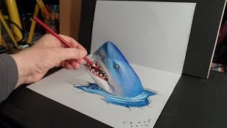 3D Trick Art - Drawing a Shark - Optical Illusion
