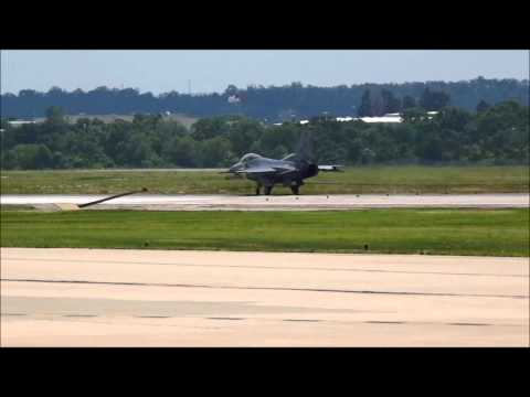 F-16 From Tulsa OK Tests Runway Cable System at KFSM FORT SMITH,ARKANSAS