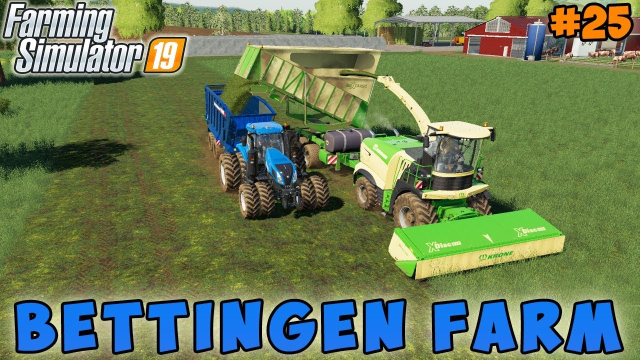 Farming simulator 19 | Bettingen Farm | Timelapse #24 | Making grass silage  with forage harvester