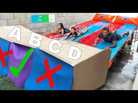 DONT Water Slide through the Wrong Mystery Box!! (YOU DECIDE) | Familia Diamond