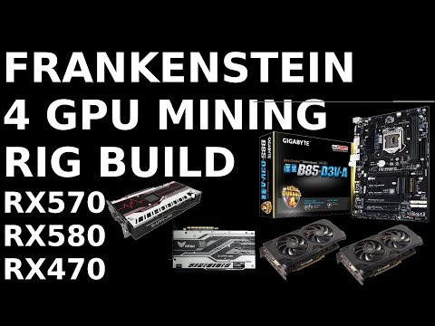 Frankenstein 4 GPU Mining Rig Build RX570 RX580 RX470 On GIgabyte B85-D3V Ethereum Zcash