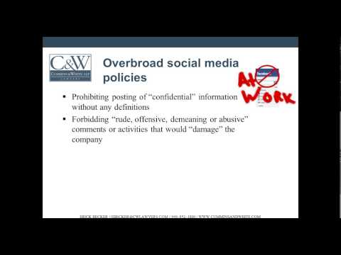 Social Media in the Workplace - Guidelines for Employers