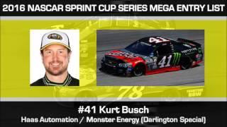 2016 NASCAR Sprint Cup Series MEGA Entry List