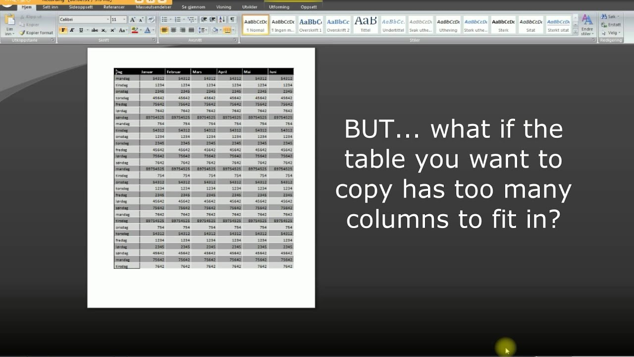 Copy Table With Too Many Columns From Excel To Word Youtube