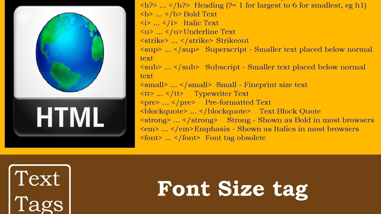 Font Size tag in Text Tags | HTML Programming Tutorials for ...