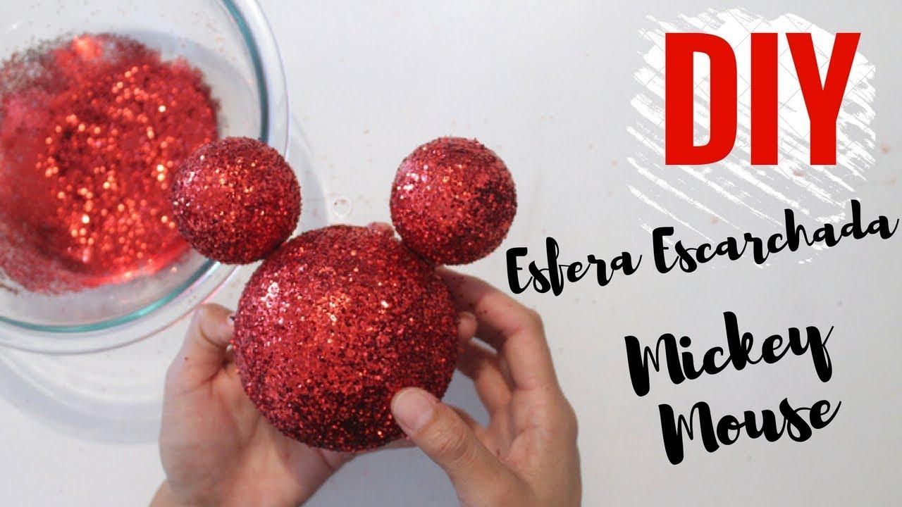 Esfera de navidad escarchada de mickey mouse como hacer - Esferas de navidad ...