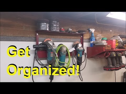EASY Grinder Storage Rack built from Scrap Metal