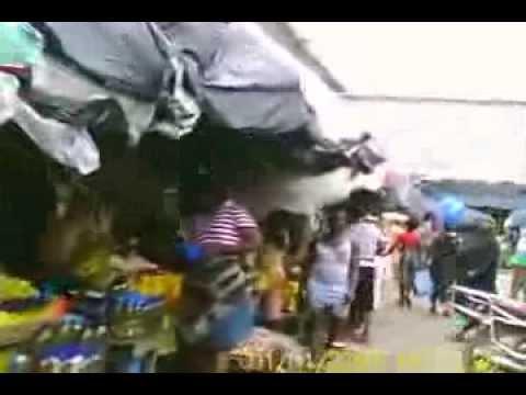 Driving through Waterside Market in Monrovia, Liberia