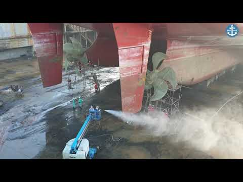 Ship in Dry Dock - High Pressure Wash