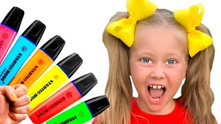 Eva pretends to play with her Magic Pen Preschool toddler learn color