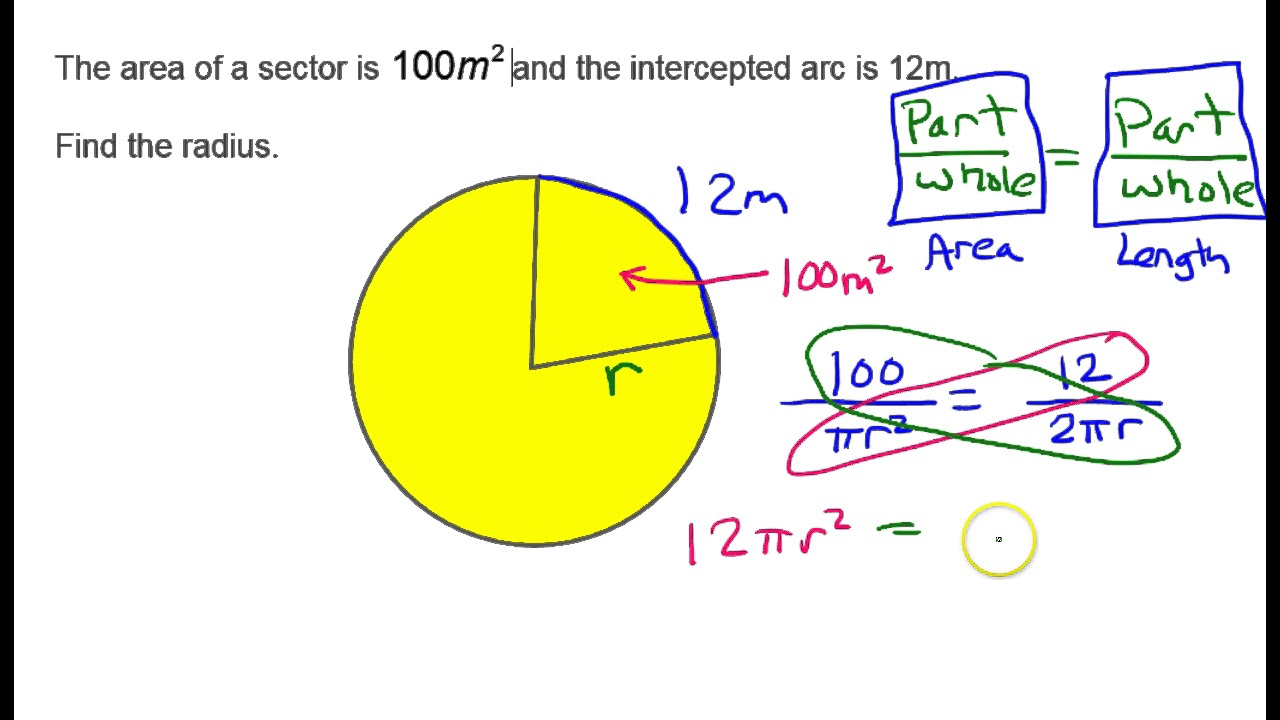 Find the radius given sector area and arc length