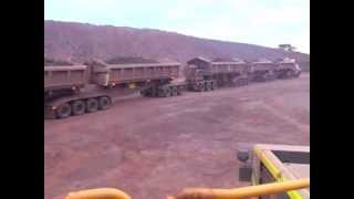 Huge road train with 5 trailers operating in gold mine NT Australia