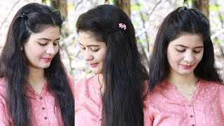 5 Quick Hairstyles For Everyday, College, Office In Just 1 Minute | Running Late Hairstyles