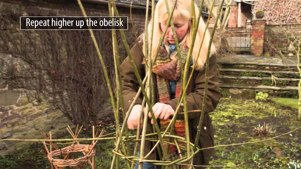 How to make a willow obelisk plant support - YouTube