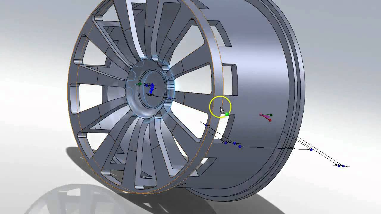 Solidworks Tutorial New Design For A Car Wheel Rim 20 Less Weight Youtube