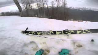 Падение в яму на лыжах.   Роза Хутор.  Красная Поляна