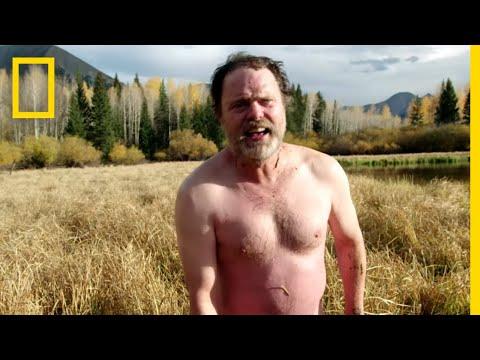 Rainn Wilson and Bear Grylls Got Naked and Went Fishing in a Frigid Lake