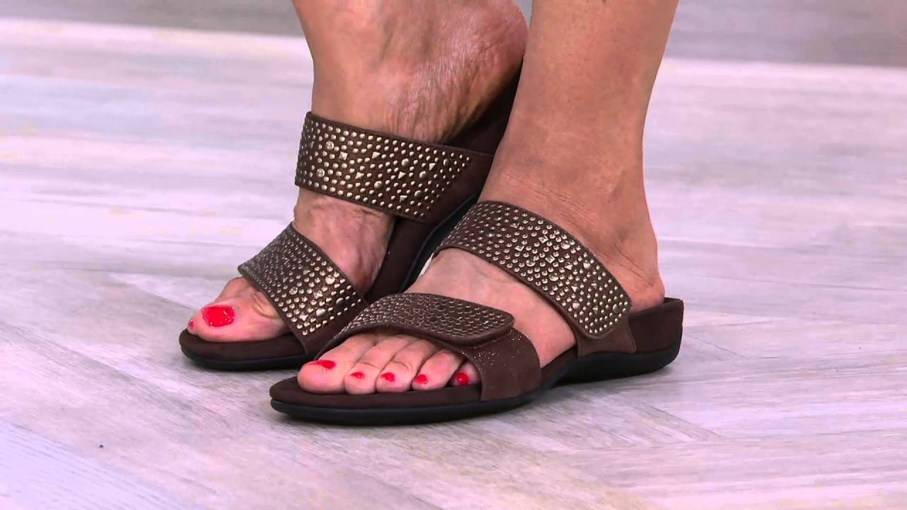 a7e39efe5e6 Vionic Orthotic Leather Gored Slide Sandals - Samoa on QVC - YouTube
