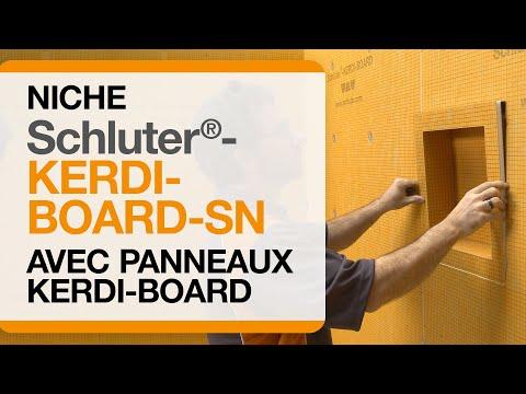 Installation d'une niche de douche Schluter®-KERDI-BOARD-SN dans un assemblage KERDI-BOARD